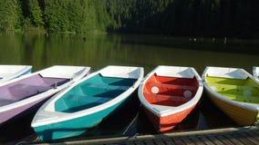 Bright multicolored boats on a lake shore. Bright multicolored boats on a Lacu Rosu lake shore, Romania stock video