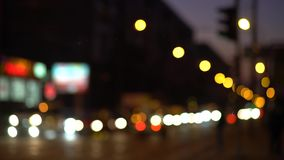 Car headlights and tail lights out of focus