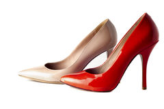 Bright, multicolored female shoes on high heels Stock Images