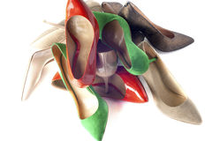 Bright, multicolored female shoes on high heels Royalty Free Stock Photography