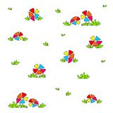 Bright multicolored flowers. Children`s funny drawing stock illustration