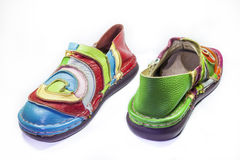 Bright multicolored leather shoes Stock Photos