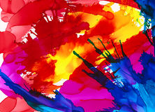 Bright multicolored paint splatters. Colorful background hand drawn with bright inks and watercolor paints. Color splashes and splatters create uneven artistic Stock Photos