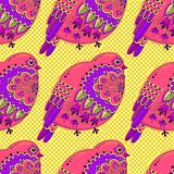 Bright multicolored seamless pattern with birds and floral ornament on background of polka dots. Vector illustration.  vector illustration