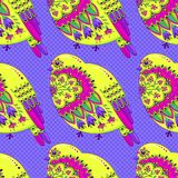Bright multicolored seamless pattern with birds and floral ornament on background of polka dots. Vector illustration.  stock illustration