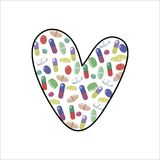 Bright multicolored little tablets and pills in the shape of a heart or the letter L vector illustration