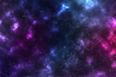 Bright multicolored texture of cosmos. Small stars and celestial bodies in space. Stock Images