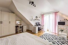 Bright multifunctional interior. Cosy house- bright spacious multifunctional interior with terrace stock photo