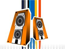 Bright music. Loudspeaker on colorful equalizer background Royalty Free Stock Image