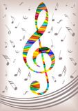 Bright music clef and notes silhouettes Royalty Free Stock Image
