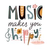 Bright music vector poster design or print for t-shirt. Cute letters isolated on the white background - `Music makes you happy`. stock illustration