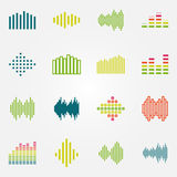Bright music soundwave or equalizer icons set Royalty Free Stock Image
