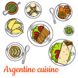 Bright national dishes of argentine cuisine sketch Royalty Free Stock Photography