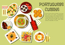 Bright national dishes of portuguese cuisine icon Royalty Free Stock Photos