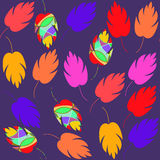Bright nature abstract seamless pattern with colorful fantasy leaves  and seamless pattern in swatch menu,  illustration Royalty Free Stock Photography