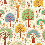 Bright nature cute seamless pattern  with trees Stock Photo