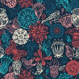 Bright nature seamless pattern. Vintage flowers and birds on dark background Royalty Free Stock Photo