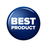 Bright navy blue round button with word `Best Product` Stock Photos