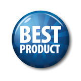 Bright navy blue round button with word `Best Product` Stock Images