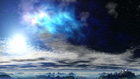 Bright nebula above the clouds stock video footage