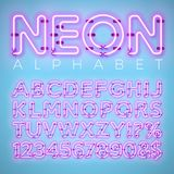 Bright Neon Alphabet on Blue Background. Vector Letter, Number and Symbol with Shiny Glow Effect Layered Separated. Characters. Font Design template for Your Royalty Free Stock Images