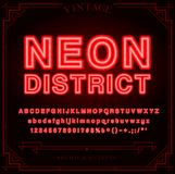 Bright Neon Alphabet Letters, Numbers and Symbols Sign Royalty Free Stock Photo