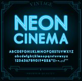 Bright Neon Alphabet Letters, Numbers and Symbols Sign Stock Photography