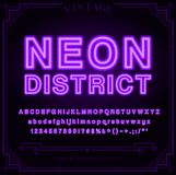 Bright Neon Alphabet Letters, Numbers and Symbols Sign Stock Images