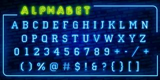 Bright Neon Alphabet Letters, Numbers and Symbols Sign in Vector. Night Show. Night Club. Neon illustration vector illustration