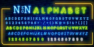 Bright Neon Alphabet Letters, Numbers and Symbols Sign in Vector. Night Show. Night Club. Neon illustration royalty free illustration