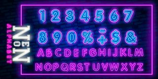 Bright Neon Alphabet Letters, Numbers and Symbols Sign in Vector. Night Show. Night Club. Neon illustration stock illustration