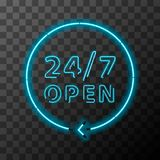 Bright neon around the clock sign, 24 hours open. Bright realistic neon around the clock sign, 24 hours open Stock Photos