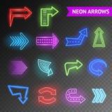 Bright Neon Arrows Set Stock Photo