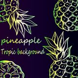 Bright neon background - tropical pineapple pattern. Royalty Free Stock Photos
