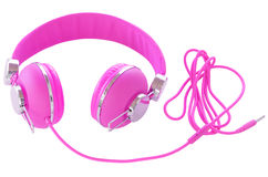 Bright neon colored purple female headphones Royalty Free Stock Images
