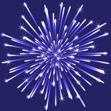 Bright neon  firework on blue background, vector illustration. Bright neon firework burst of light on blue background, vector illustration Stock Photo