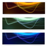 Bright neon glow line web footer set Royalty Free Stock Photo