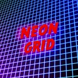 Bright neon grid lines glowing background with 80s style Stock Photo