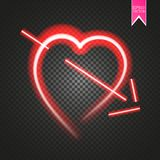 Bright neon heart. Heart sign with cupid arrow on dark transparent background. Neon glow effect. Vector Royalty Free Stock Photo