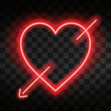 Bright neon heart. Heart sign with cupid arrow on dark transparent background. Neon glow effect. Vector Royalty Free Stock Images