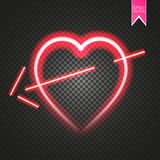 Bright neon heart. Heart sign with cupid arrow on dark transparent background. Neon glow effect. Vector Stock Image