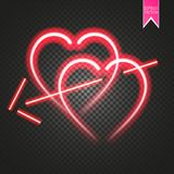 Bright neon heart. Heart sign with cupid arrow on dark transparent background. Neon glow effect. Vector Stock Photography