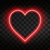 Bright neon heart. Heart sign on dark transparent background. Neon glow effect. Vector Stock Images