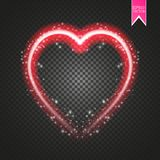 Bright neon heart. Heart sign on dark transparent background. Neon glow effect. Vector. Eps 10 Stock Images