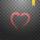 Bright neon heart. Heart sign on dark transparent background. Neon glow effect. Vector. Eps 10 Stock Photography