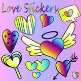 Big set of hearts - beautiful cartoon valentines Royalty Free Stock Images