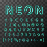 Bright neon letters, full latin alphabet on transparent background Stock Photography