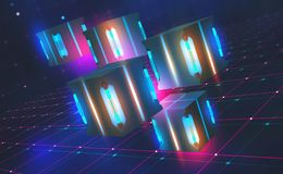 Bright neon light. Quantum processor concept. Blockchain technology in virtual cyberspace. 3D illustration on a tech background. With binary code elements royalty free illustration