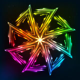 Bright neon lights vector sun symbol Royalty Free Stock Photos