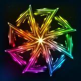 Bright neon lights vector sun symbol. Bright neon rainbow lights vector sun symbol Royalty Free Stock Photos
